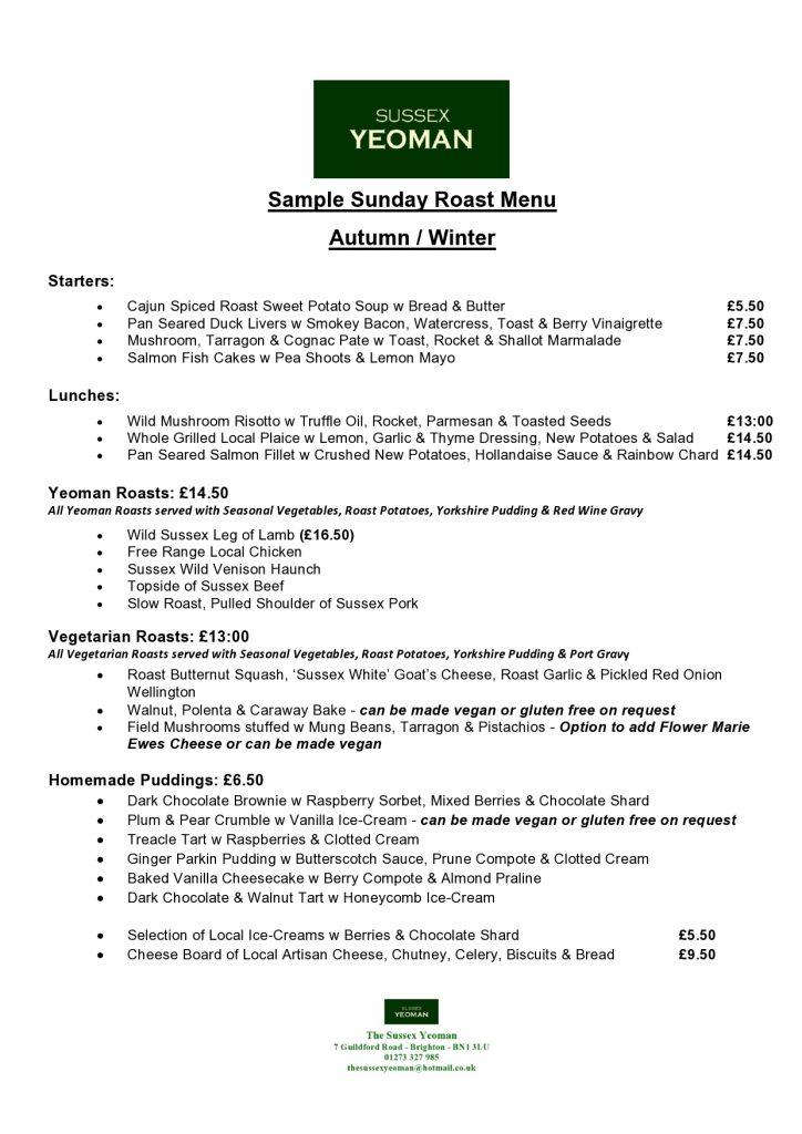 Sussex Yeoman Sunday Menu Autumn/Winter