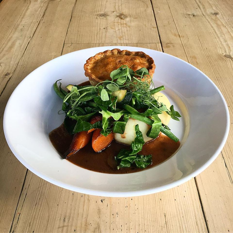 National Pie Week. Home-made Wild Sussex Venison Pie, Mashed Potato, Seasonal Veg & Gravy