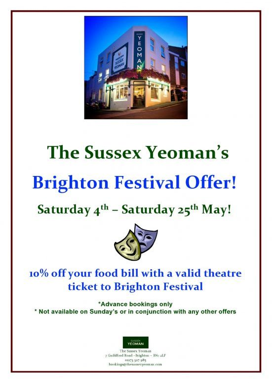 BRIGHTON FESTIVAL OFFER WITH THEATRE TICKETS