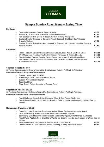 Sample Sunday Roast Menu - Spring 2019